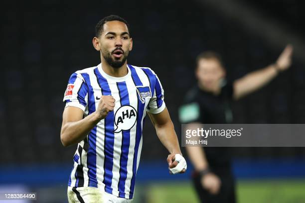 Matheus Cunha of Hertha BSC celebrates after scoring his team's first goal during the Bundesliga match between Hertha BSC and VfL Wolfsburg at...