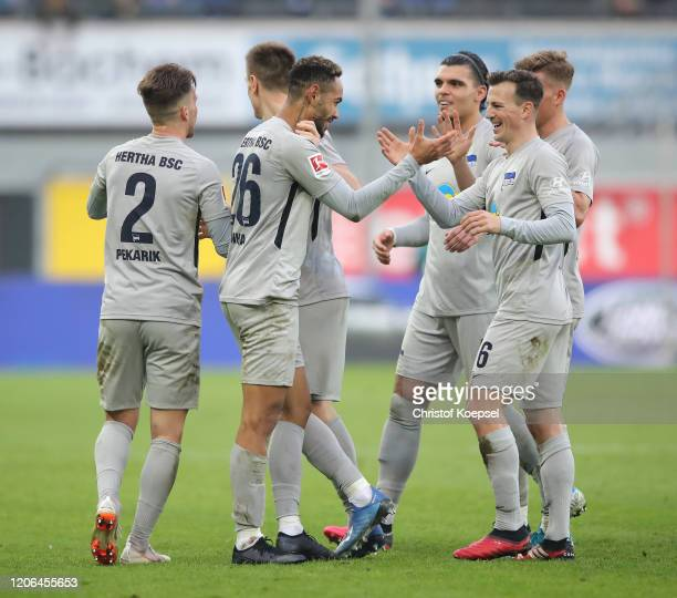 Matheus Cunha of Hertha BSC celebrates with teammates after scoring his team's second goal during the Bundesliga match between SC Paderborn 07 and...