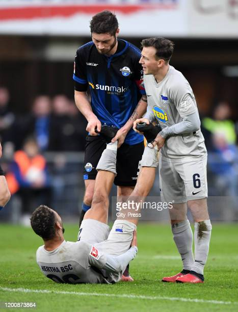 Matheus Cunha of Hertha BSC Christian Strohdiek of SC Paderborn and Vladimir Darida of Hertha BSC during the game between the SC Paderborn 07 against...