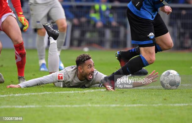 Matheus Cunha of Hertha BSC during the game between the SC Paderborn 07 against Hertha BSC on february 15 2020 in Paderborn Germany