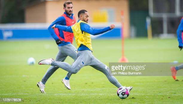 Matheus Cunha of Hertha BSC during the training session on October 20 2020 in Berlin Germany
