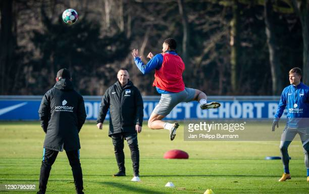 Matheus Cunha of Hertha BSC jumps to head the ball during the training session at Schenckendorffplatz on January 26, 2021 in Berlin, Germany.