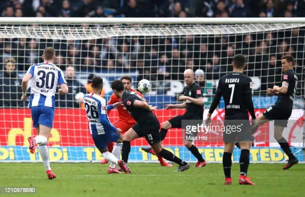 Matheus Cunha of Hertha BSC shoots and scores his team's second goal during the Bundesliga match between Hertha BSC and SV Werder Bremen at...
