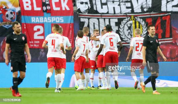Matheus Cunha of Leipzig celebrates her team's first goal with team mates during the UEFA Europa League Qualifying PlayOff second leg match between...