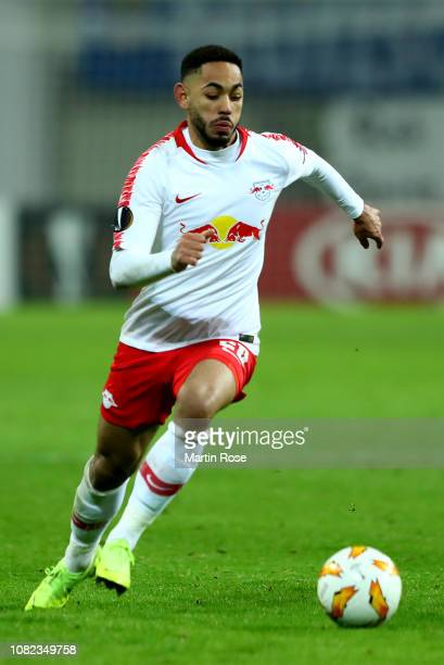 Matheus Cunha of Leipzig runs with the ball during the UEFA Europa League Group B match between RB Leipzig and Rosenborg at Red Bull Arena on...