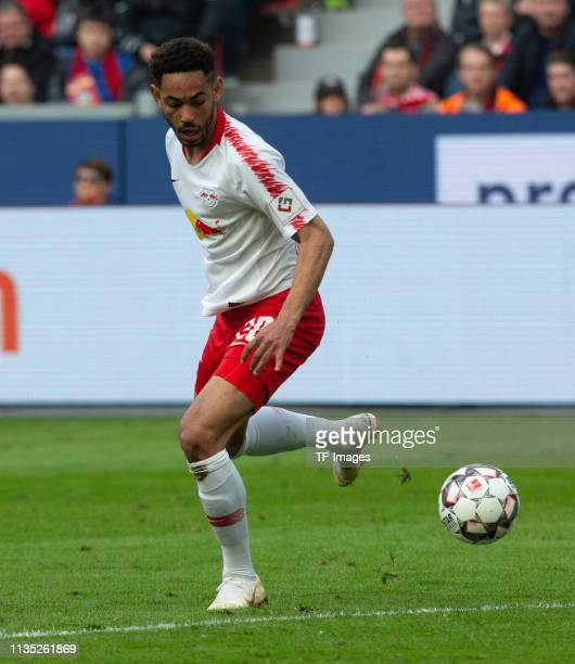 Matheus Cunha of RB Leipzig controls the ball during the Bundesliga match between Bayer 04 Leverkusen and RB Leipzig at BayArena on April 06 2019 in...