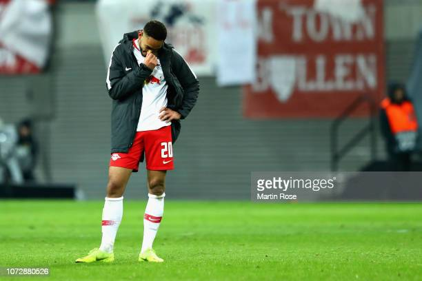 Matheus Cunha of RB Leipzig looks dejected after the UEFA Europa League Group B match between RB Leipzig and Rosenborg at Red Bull Arena on December...