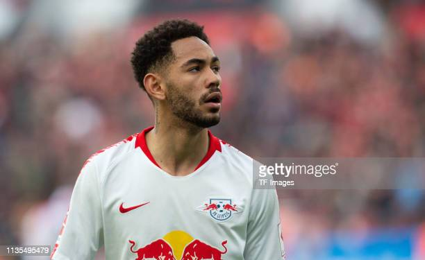 Matheus Cunha of RB Leipzig looks on during the Bundesliga match between Bayer 04 Leverkusen and RB Leipzig at BayArena on April 06 2019 in...