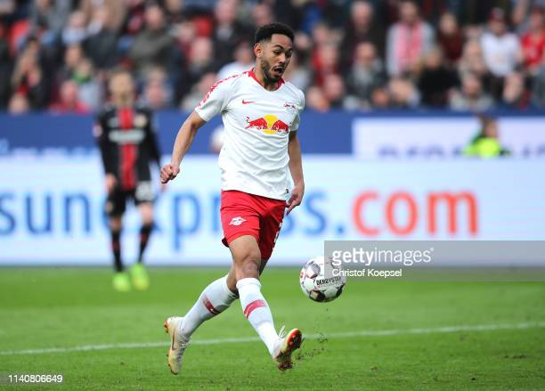 Matheus Cunha of RB Leipzig scores his team's fourth goal during the Bundesliga match between Bayer 04 Leverkusen and RB Leipzig at BayArena on April...