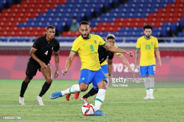 Matheus Cunha of Team Brazil misses a penalty during the Men's First Round Group D match between Brazil and Germany during the Tokyo 2020 Olympic...