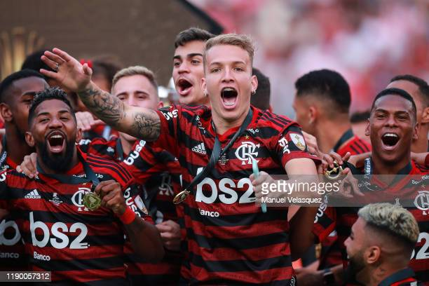 Matheus de Jesus of Flamengo celebrates the victory after winning the final match of Copa CONMEBOL Libertadores 2019 between Flamengo and River Plate...
