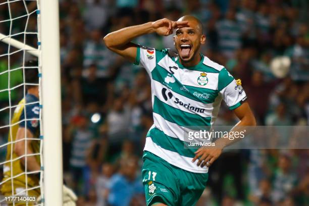 Matheus Doria of Santos celebrates after scoring the second goal of his team during the 11th round match between Santos Laguna and Veracruz as part...