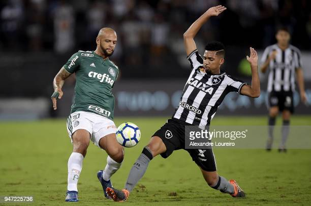 Matheus Fernandes of Botafogo struggles for the ball with Felipe Melo of Palmeiras during the match between Botafogo and Palmeiras as part of...