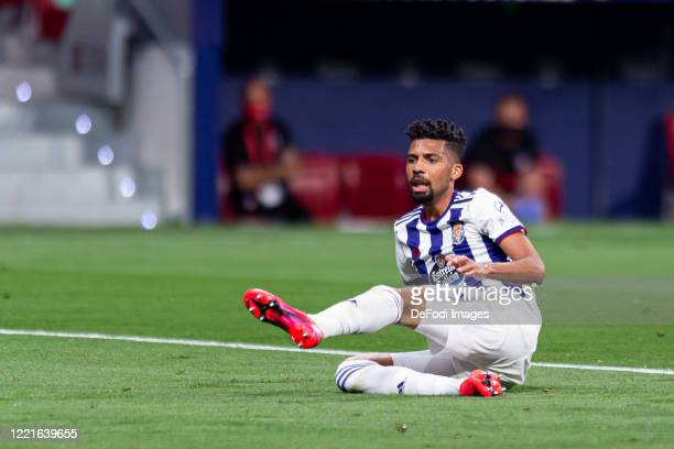 Matheus Fernandes of Real Valladolid CF on the ground during the Liga match between Club Atletico de Madrid and Real Valladolid CF at Wanda...