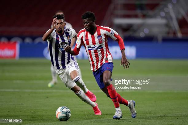 Matheus Fernandes of Real Valladolid Thomas of Atletico Madrid during the La Liga Santander match between Atletico Madrid v Real Valladolid at the...