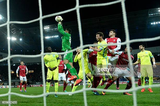 Matheus goalkeeper of SC Braga beats everybody to the ball during the UEFA Europa League Group H stage match between KAA Gent and SC Braga at the...