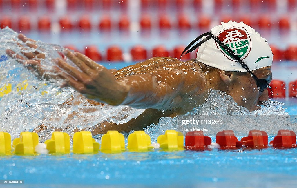 Matheus Gonche of Brazil swims the Men's 200m Butterfly final during the Maria Lenk Trophy competition at the Aquece Rio Test Event for the Rio 2016 Olympics at the Olympic Park on April 17, 2016 in Rio de Janeiro, Brazil.