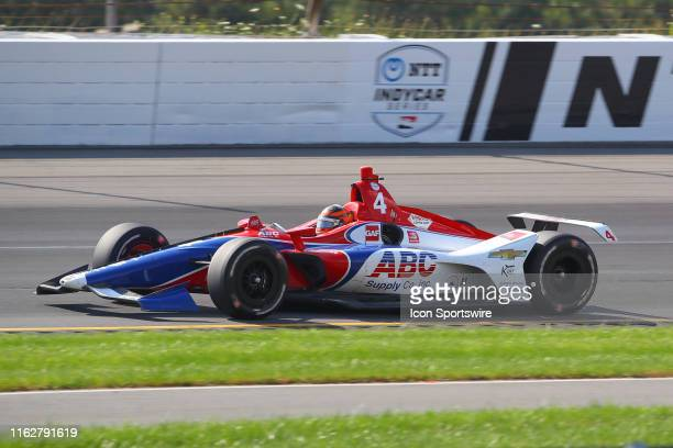 Matheus Leist driver of the ABC Supply AJ Foyt Racing Chevrolet drives during the IndyCar Series ABC Supply 500 on August 18 2019 at Pocono Raceway...