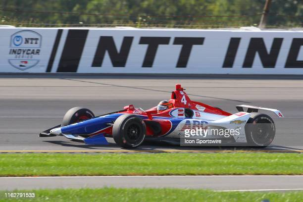 Matheus Leist driver of the ABC Supply AJ Foyt Racing Chevrolett drives during the IndyCar Series ABC Supply 500 on August 18 2019 at Pocono Raceway...