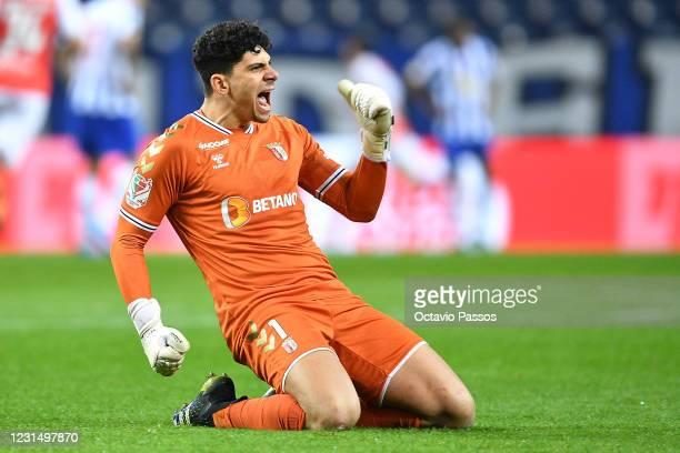 Matheus Magalhaes of SC Braga celebrates after Abel Ruiz scores his sides second goal during the Taca de Portugal Semi-Final Second Leg match between...