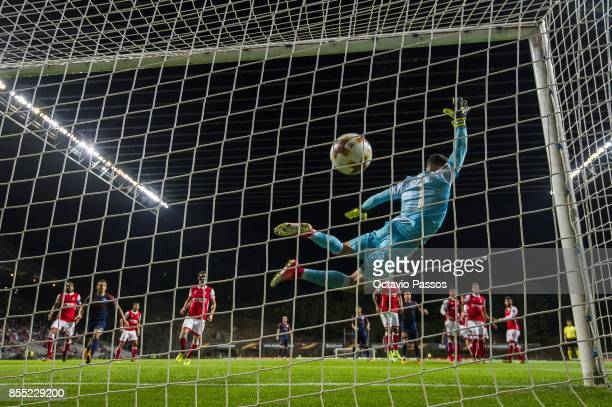 Matheus Magalhaes of Sporting Braga can't stop a goal from Emre Belozoglu of Basaksehir FK during the UEFA Europa League group C match between...