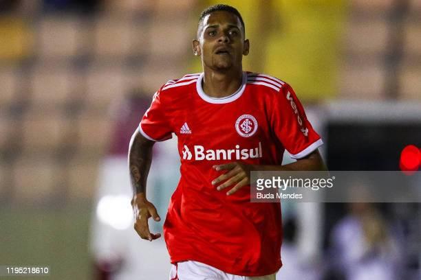 Matheus Monteiro of Internacional celebrates a scored goal during a match between Internacional and Corinthians as part of Semi-Final 1 Copa Sao...