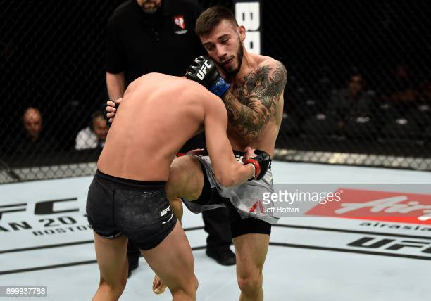 Matheus Nicolau of Brazil knees the midsection of Louis Smolka in their flyweight bout during the UFC 219 event inside TMobile Arena on December 30...