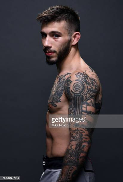 Matheus Nicolau of Brazil poses for a portrait backstage after his victory over Louis Smolka during the UFC 219 event inside TMobile Arena on...