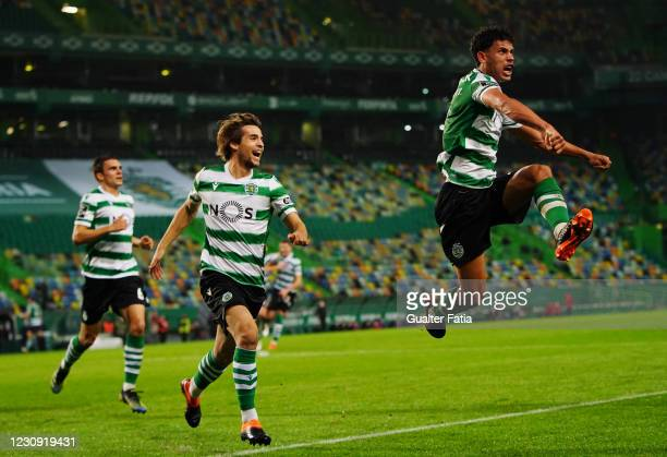 Matheus Nunes of Sporting CP celebrates after scoring a goal during the Liga NOS match between Sporting CP and SL Benfica at Estadio Jose Alvalade on...