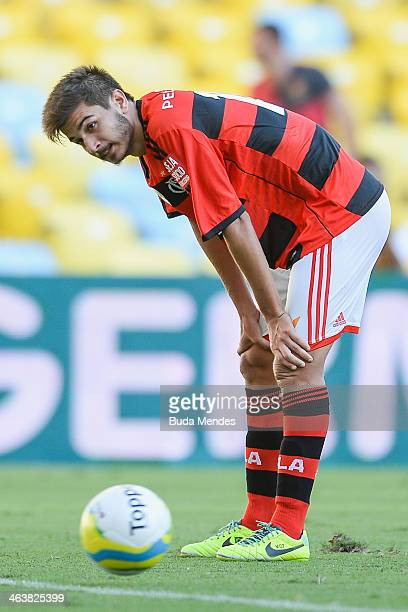 Matheus of Flamengo laments lost a goal during the match between Flamengo and Audax for the Carioca 2014 at Maracana on January 19 2014 in Rio de...