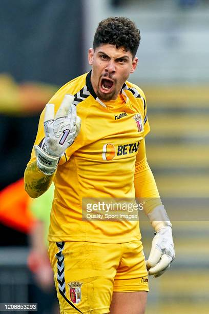Matheus of SC Braga reacts after saving a penalty during the UEFA Europa League round of 32 second leg match between Sporting Club Braga and Rangers...