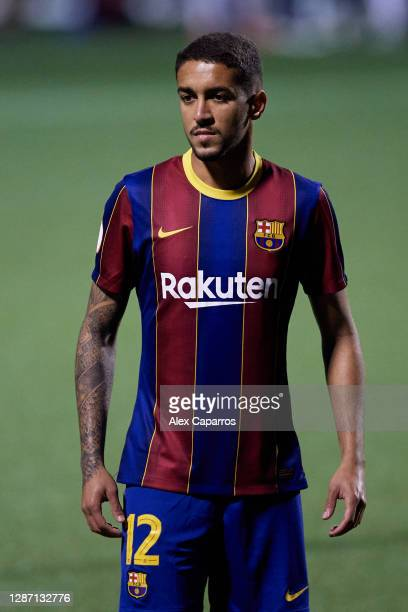Matheus Pereira of FC Barcelona B looks on during the Segunda Division B Group IIIA match between CE L'Hospitalet and FC Barcelona B at Estadi...