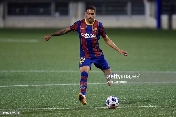 Matheus Pereira of FC Barcelona B plays the ball during the Segunda Division B Group IIIA match between CE L'Hospitalet and FC Barcelona B at Estadi...