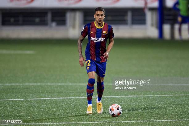 Matheus Pereira of FC Barcelona B runs with the ball during the Segunda Division B Group IIIA match between CE L'Hospitalet and FC Barcelona B at...