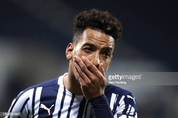 Matheus Pereira of West Brom reacts during the Premier League match between West Bromwich Albion and Everton at The Hawthorns on March 04, 2021 in...