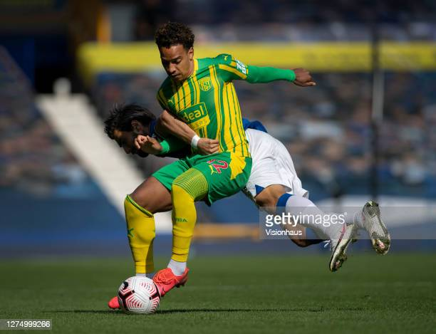 Matheus Pereira of West Bromwich Albion and André Gomes of Everton in action during the Premier League match between Everton and West Bromwich Albion...