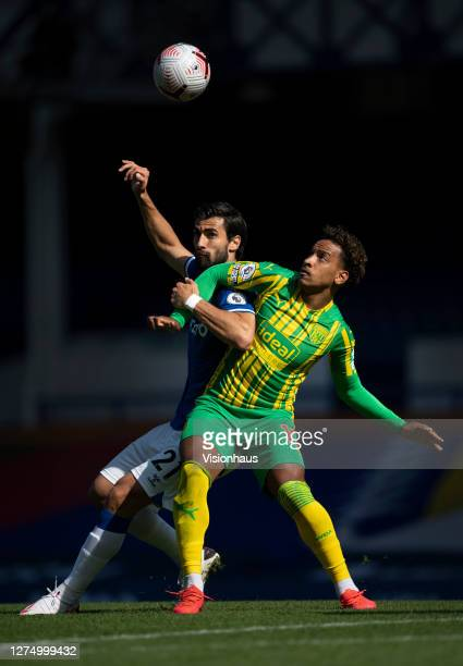 Matheus Pereira of West Bromwich Albion and Andre Gomes of Everton in action during the Premier League match between Everton and West Bromwich Albion...