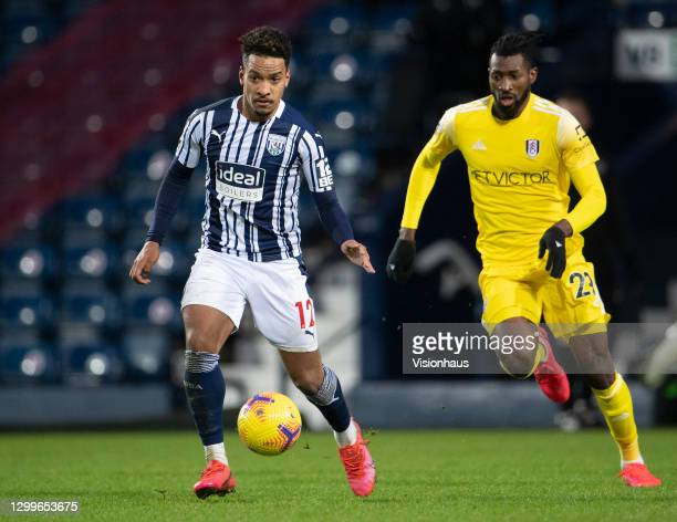 Matheus Pereira of West Bromwich Albion and André-Frank Zambo Anguissa of Fulham during the Premier League match between West Bromwich Albion and...