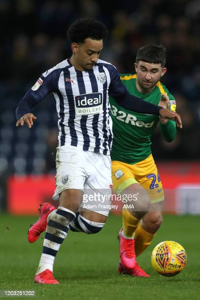 Matheus Pereira of West Bromwich Albion and Sean Maguire of Preston North End during the Sky Bet Championship match between West Bromwich Albion and...