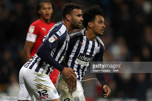 Matheus Pereira of West Bromwich Albion celebrates after scoring a goal to make it 2-2 with Hal Robson-Kanu of West Bromwich Albion during the Sky...