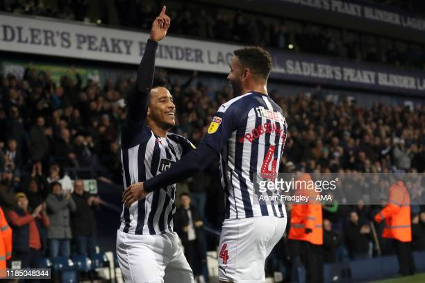 Matheus Pereira of West Bromwich Albion celebrates after scoring a goal to make it 2-0 with Hal Robson-Kanu of West Bromwich Albion during the Sky...