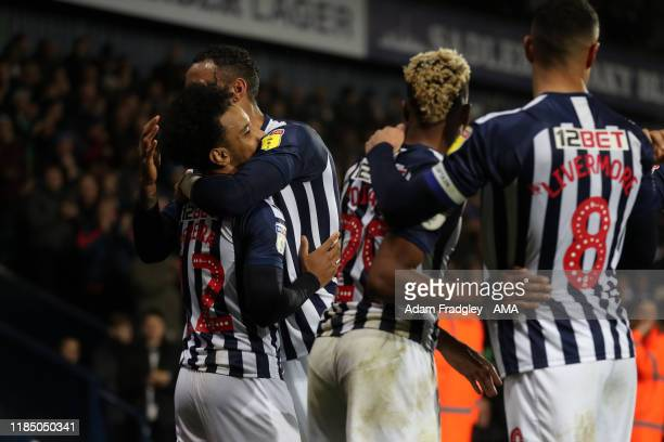 Matheus Pereira of West Bromwich Albion celebrates after scoring a goal to make it 2-0 with team mates during the Sky Bet Championship match between...