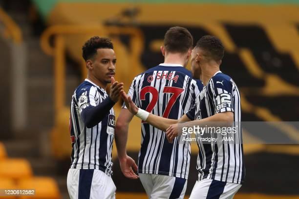 Matheus Pereira of West Bromwich Albion celebrates after scoring a goal to make it 0-1 with Kieran Gibbs of West Bromwich Albion during the Premier...