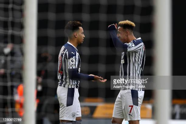 Matheus Pereira of West Bromwich Albion celebrates after scoring a goal to make it 0-1 with Callum Robinson of West Bromwich Albion during the...