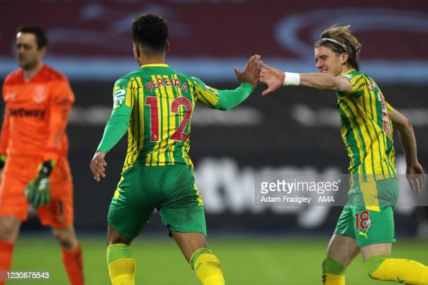 Matheus Pereira of West Bromwich Albion celebrates after scoring a goal to make it 1-1 with Conor Gallagher of West Bromwich Albion during the...