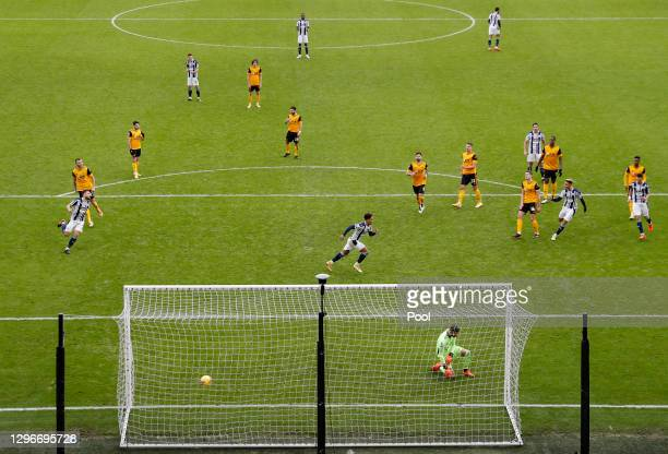 Matheus Pereira of West Bromwich Albion celebrates after scoring a penalty past Rui Patricio of Wolverhampton Wanderers for his team's third goal...