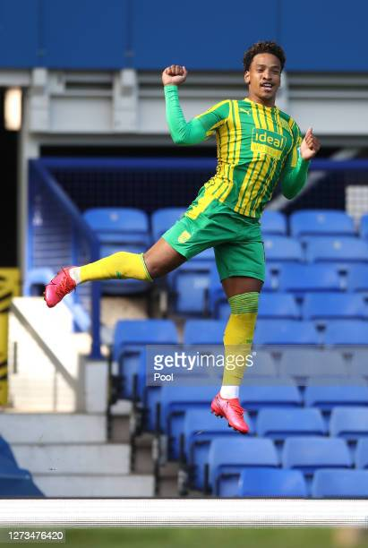 Matheus Pereira of West Bromwich Albion celebrates after scoring his sides second goal during the Premier League match between Everton and West...