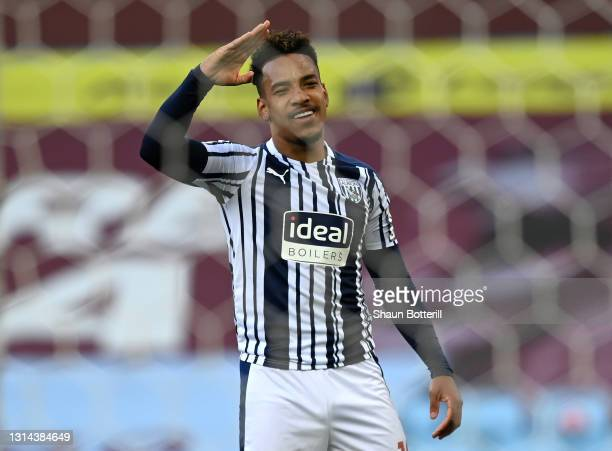 Matheus Pereira of West Bromwich Albion celebrates after scoring their side's first goal during the Premier League match between Aston Villa and West...