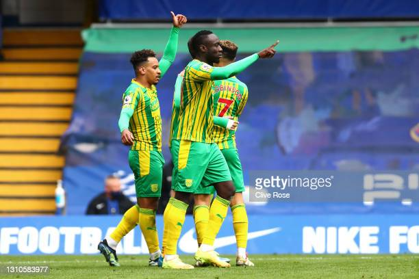Matheus Pereira of West Bromwich Albion celebrates with teammates after scoring their team's first goal during the Premier League match between...