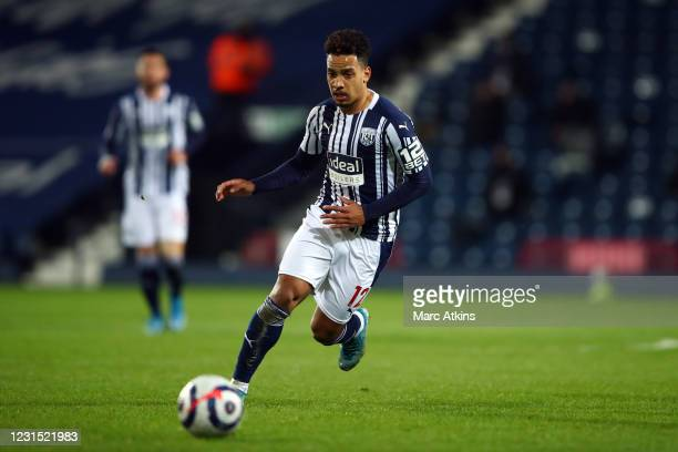 Matheus Pereira of West Bromwich Albion during the Premier League match between West Bromwich Albion and Everton at The Hawthorns on March 4, 2021 in...